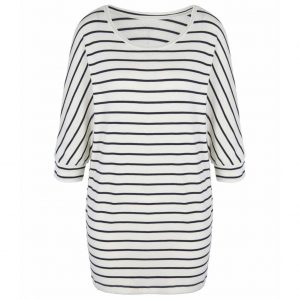 Asquith Yoga Shirt Be Grace Batwing Stripe - Navy/Ivory