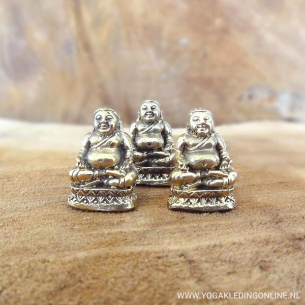 YogaStyles Mini Bronzen Happy Boeddha - Set van 3
