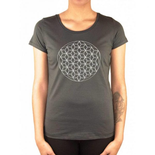 Anoona Yoga Shirt Indi Flower Of Life - Antraciet