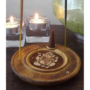 Yogi&Yogini Wierookhouder Ganesha Rond - Hout - 10 cm