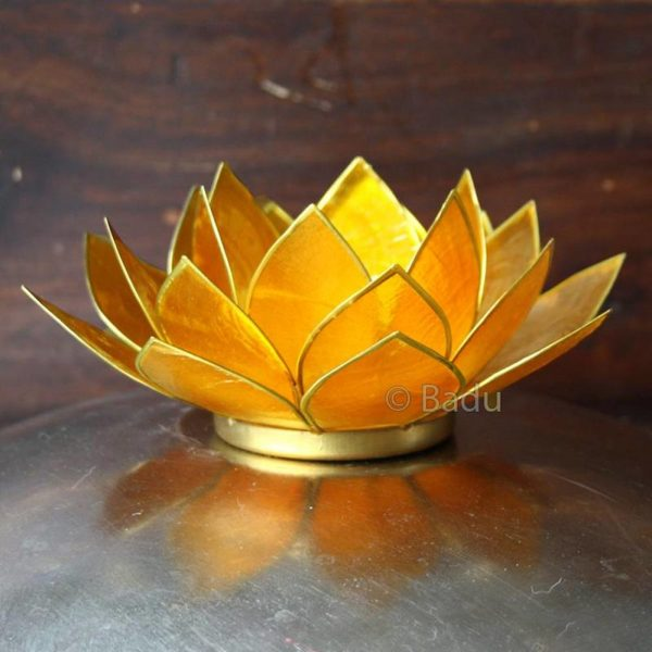 Yogi&Yogini Lotusbloem Waxinehouder - Geel (goud) - 3e Chakra
