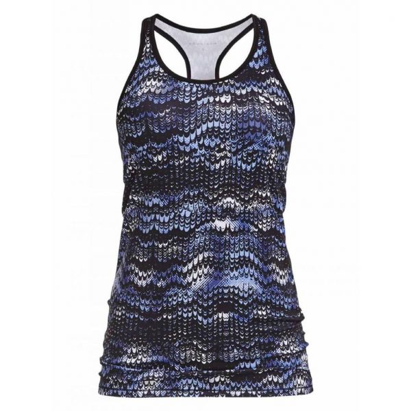 Rohnisch Yoga Top Long Racerback - Ocean Ripple - Indigo Night