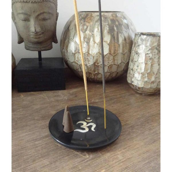 Yogi&Yogini Wierookhouder Ohm Zwart Speksteen - 10 cm