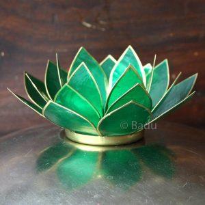 Yogi&Yogini Lotusbloem Waxinehouder - Groen (goud) - 4e Chakra