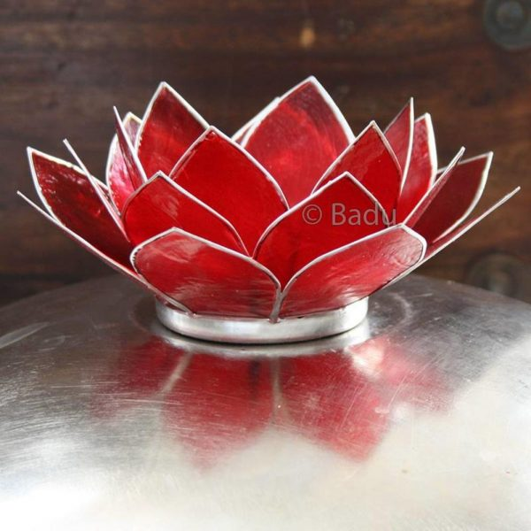 Yogi&Yogini Lotusbloem Waxinehouder - Rood (zilver) - 1e Chakra