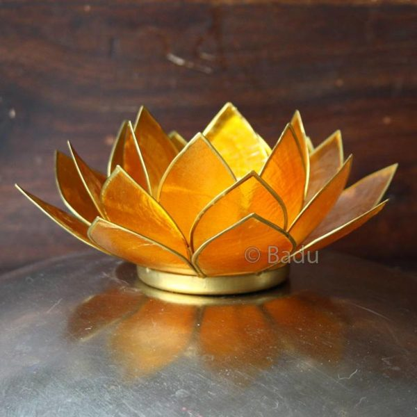 Yogi&Yogini Lotusbloem Waxinehouder - Oranje (goud) - 2e Chakra