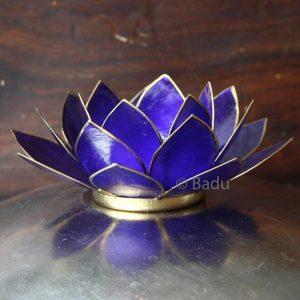 Yogi&Yogini Lotusbloem Waxinehouder - Indigo (goud) - 6e Chakra