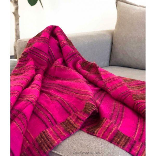 YogaStyles Meditatie Deken Roze/Zwart/Oker