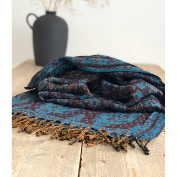 YogaStyles Meditatie Omslagdoek India Bruin/Turquoise